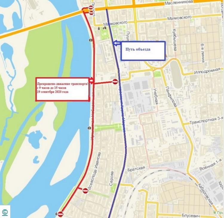 Схема перекрытия движения в Омске. Фото: пресс-служба Администрации Омска