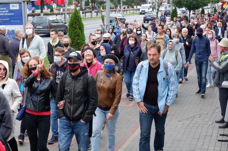 Демонстрантам удалось объединиться в колонну