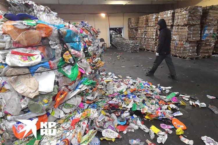 На территории мусоросортировочного комплекса в Москве.