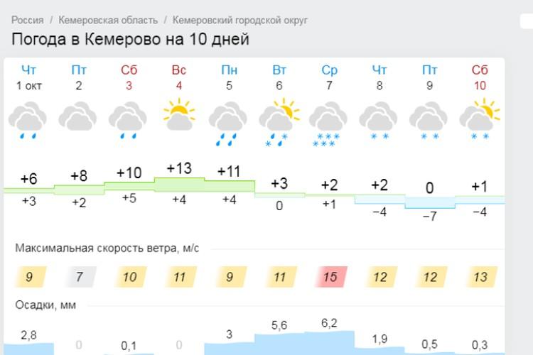 Погода в Кемерове. Фото: Gismeteo