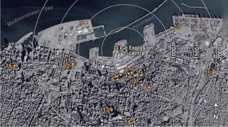 Иллюстраия из научного отчета. Точками помечены места, запечатленные на видео, которыми исследователи пользовались, оценивая мощность взрыва.