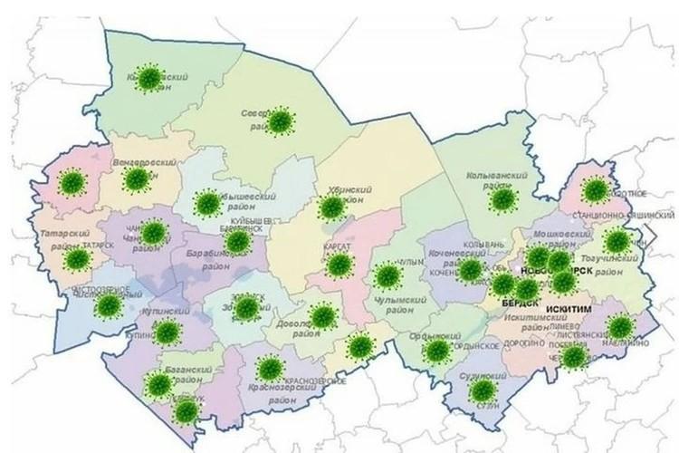 Карта коронавируса в Новосибирской области.