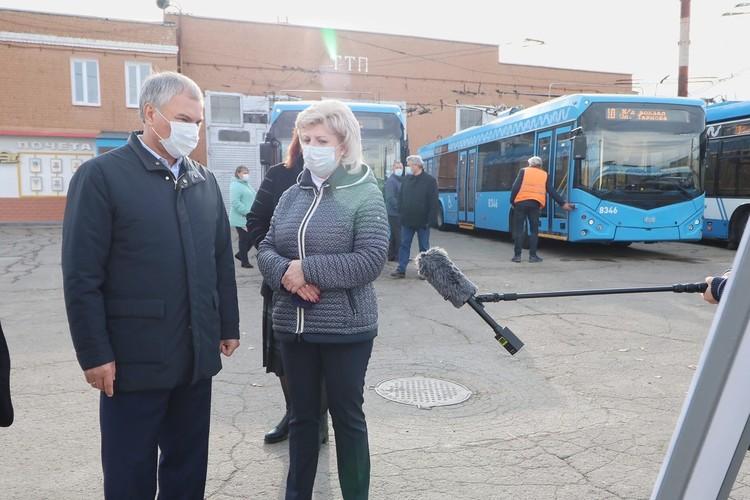 Вячеслав Володин посетил Ленинское троллейбусное депо