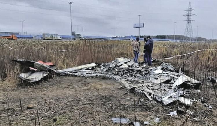 Самолет телеведущего после удара о землю сгорел в считаные минуты. Фото: НТВ