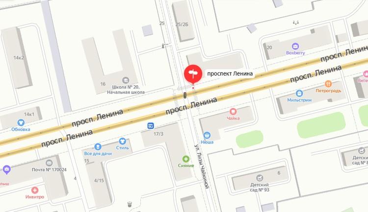 Светофоры на пересечении пр. Ленина – Лизы Чайкиной. Графика: yandex.ru/maps
