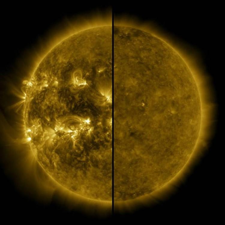 Такое разное Солнце: справа - спокойное, слева в периоды активности.