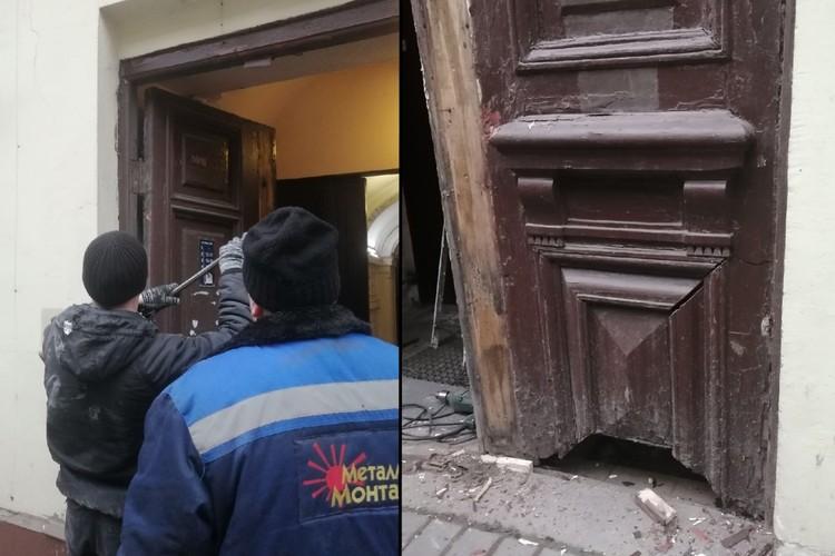 Рабочие успели повредить двери, но жильцы дома обещают реставрировать их. Фото: vk.com/kostrovyaroslav