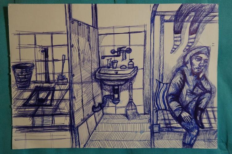 Андрусь Такинданг вел дневник, в котором записывал свои впечатления и эмоции, и рисовал. Рисунком поделился у себя в фейсбуке, facebook.com/andrus.takindang