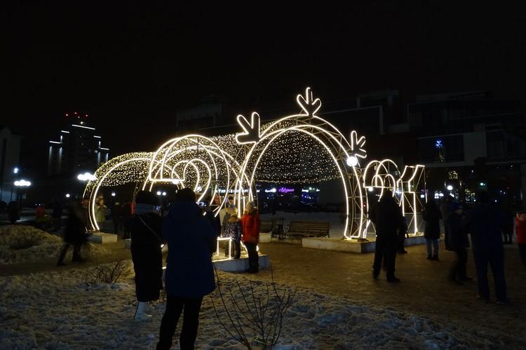 В новогодние праздники липчане гуляют в парках