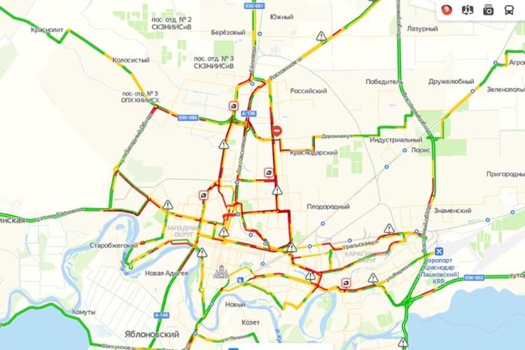 Пробки в Краснодар по данным yandex.ru/maps на 8:45 15 января