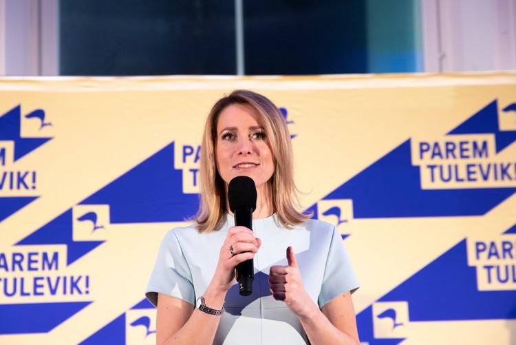 Кая Каллас на предвыборном мероприятии.