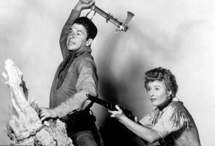 Рональд Рейган в 1954 году на съемках фильма «Королева крупного рогатого скота Монтаны»