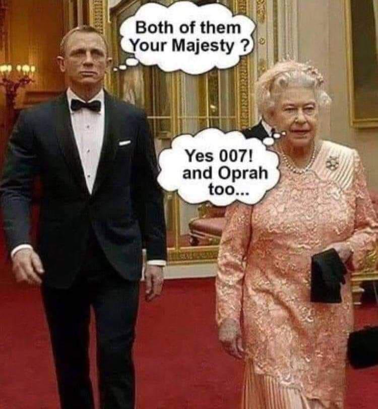 Некоторые предполагают, что королева может прибегнуть к самому эффективному оружию Британии: - Обоих, Ваше Высочество? - Да, 007. И опру тоже