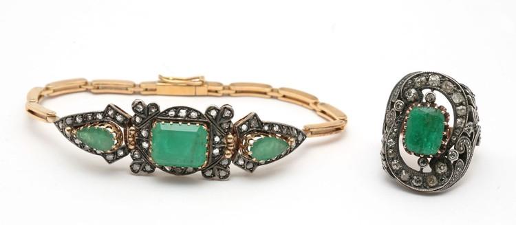 Браслет и кольцо «Изумрудные острова»