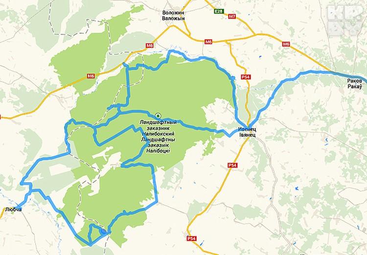 Один из маршрутов автомобильного путешествия по пуше с ночевкой в Любче.