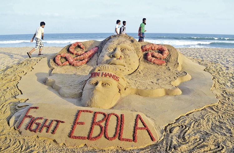Такую необычную скульптуру из песка с призывом «Остановите Эбола» соорудили на одном из пляжей в Индии.