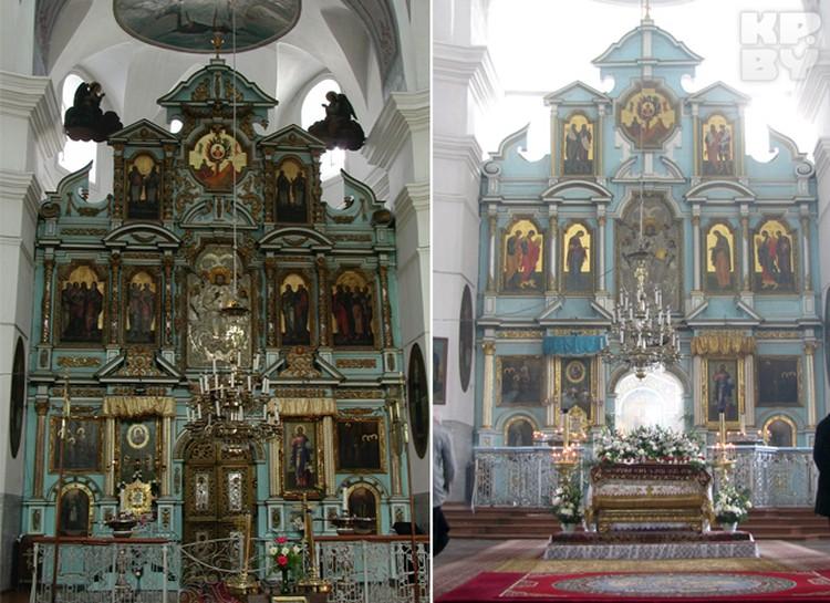 Иконостас в Успенском соборе до и после обновления. На обновленном пока не установлена барочная деревянная резьба.