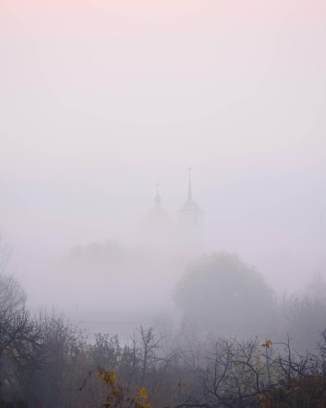 Густой туман в Липецкой области