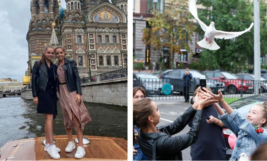 Арина и Дина Аверины запустили в небо Санкт-Петербурга 13 голубей. Фото: Инстаграм Жемчужина центр художественной гимнастики